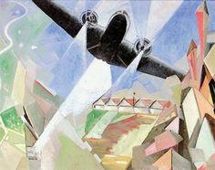 «L'aeroporto abbranca l'aeroplano» di Barbara (1938). Barbara era lo pseudonimo di Olga Biglieri, la pittrice futurista prediletta da Filippo Tommaso Marinetti spentasi nel 2002 a 86 anni.