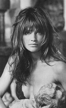 classic layers w bangs, this shot from early 90's or 80's of helena christensen 7.Long Layered Hairstyle