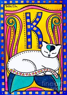 Colorful Cat Art painting by artist Dora Hathazi Mendes titled Peace and Love with Monogram K. - What more to say other than we just LOVE cool stuff!