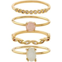 Accessorize Pretty Stacking Ring Set ($33) ❤ liked on Polyvore featuring jewelry, rings, stacking rings jewelry, stackable band rings, druzy jewelry, stackable rings and solitaire jewelry