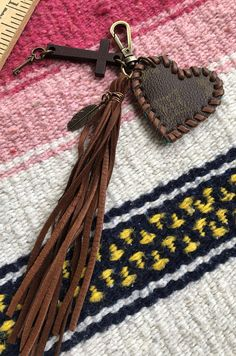 Authentic Louis Vuitton upcycled vintage Louis Vuitton Canvas Jesus Holds the Key to My Heart key fob chain bag charm