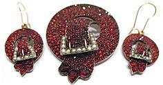 Victorian gold Bavarian garnet and pearl buckle earrings.