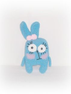 Confused Blue Pink Bunny Doll Crochet Easter Bunny Pastel Blue Pink Bunny Rabbit Hare Doll Crochet Bunny Bow ICreateAndCollect Etsy Shop by ICreateAndCollect on Etsy