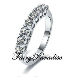 Classic Seven Stones Diamond Ring with Total 0.7 ct ( 0.1 each) Round Man Made Diamond / Matching Wedding Band Ring (Fairy Paradise)