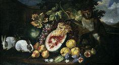Abraham Brueghel, Umkreis, FRÜCHTESTILLEBEN MIT HASEN UND EINER MEERKATZE. Still Life, Painters, Dutch, Fur, Wine Cellars, Illustrations, Artists, Flowers, Ancient Art