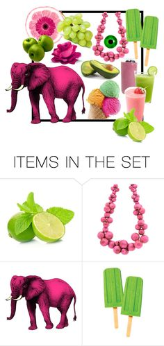 """Pink Elephant & The Yummies"" by fivefoot1designs ❤ liked on Polyvore featuring art"