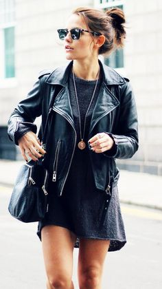 A t-shirt dress is worn with a motorcycle jacket, black bag, clubmaster sunglasses, and a pendant necklace @milya21 ❤️