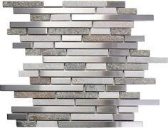 Sample Stainless Steel White Gray Stone Mosaic Tile Kitchen Backsplash Wall Spa | eBay