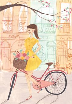 The Lady Cyclist A4 Archival Art Print (16.00 GBP) by emmablock