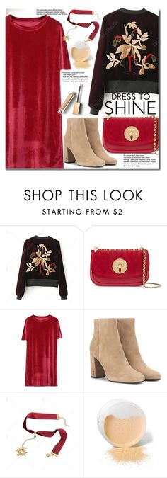 """Holiday"" by beebeely-look ❤ liked on Polyvore featuring See by Chloé, Yves Saint Laurent, Burberry, velvet, StreetChic, holidaystyle, velvetdress and twinkledeals"