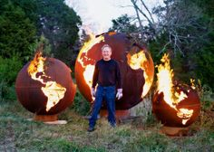 We can't help but love these round sculptures that double as fire pits! Fire Pit Art - Functional Steel Sculpture - great Fire Pits from Lebanon TN