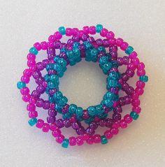 Kandi 3D Beaded Cuff Disc Bracelet In Glitter by TheBeadedDiamond, $7.50