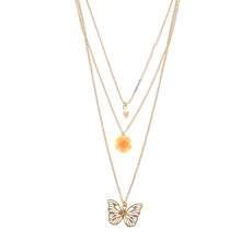 Pearl,  Pink Carved Rose and Gold Butterfly Multi-Strand Necklace