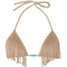 Vix Fringed faux suede triangle bikini top ❤ liked on Polyvore