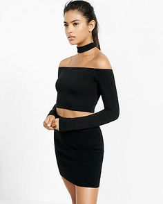 off the shoulder choker cropped top