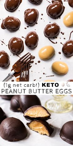 Keto Chocolate Peanut Butter Easter Eggs i.e. fat bombs! #keto #ketofatbombs #lowcarb #easter