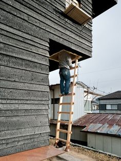 """Terunobu Fujimori - Photo 11 of 23 - The climb to the Coal House tea room is purposely precarious. Fujimori wants visitors to """"be a little afraid"""" on their way up; it's """"a device to make you feel and think differently in this space. Cedar Siding, Wood Siding, Cedar Paneling, Cedar Planks, Cedar Wood, Wood Facade, Charred Wood, Exterior Cladding, House Cladding"""