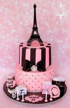 Parisian Theme Cake Pariscake Eiffeltower Pinkandblack Paris Birthday Cakes
