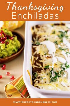 These Thanksgiving enchiladas with maple turkey and roasted butternut squash are the perfect way to welcome the holiday season or celebrate Friendsgiving. They're also perfect for your Thanksgiving leftovers or make a unique Thanksgiving recipe. #thanksgivingenchiladas #thanksgivingleftoversrecipes #thanksgivingleftovers #friendsgivingideas #turkeyenchiladas #butternutsquashenchiladas #friendsgivingrecipes Easy Thanksgiving Dinner, Traditional Thanksgiving Recipes, Thanksgiving Leftover Recipes, Fall Dinner Recipes, Leftovers Recipes, Fall Recipes, Holiday Recipes, Dinner Ideas, Healthy Mexican Recipes