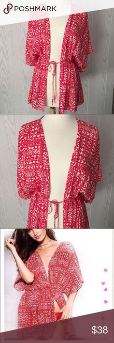Victoria's Secret Hearts Kimono Cinch waist with tie front • red and white • New with Tags Victoria's Secret Intimates & Sleepwear Robes
