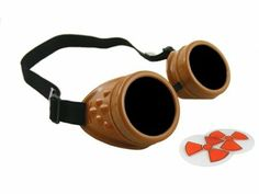 CyberloxShop® Cyber Goggles Dark Caramel Brown Steam Punk Rave Goth - Includes FREE set of Exclusive CyberloxShop® Lense Design Inserts: Ama...