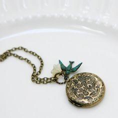 bird and flower locket