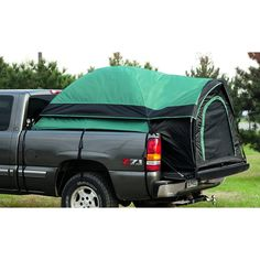 """Got a truck? You've got a camper! Give a whole new meaning to the term """"truck bed""""! The Guide Gear Compact-size Truck Tent deploys in minutes in pickup beds, providing a fast, comfortable shelter that gets you up off the gro Truck Tent Camping, Truck Bed Tent, Tent Camping Beds, Car Tent, Hiking Tent, Camping Gear, Pickup Camping, Camping List, Camping Stuff"""