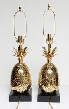 Pair Of Polished Brass Pineapple Table Lamps Image 6