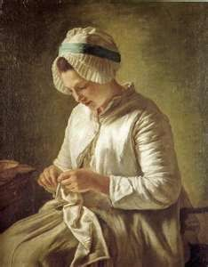 18th Century Painting of a woman doing needlework.