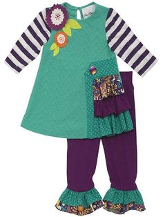 Rare Editions Counting Daisies Teal / Purple Fall Floral Outfit (sz 6). Rich fall colors of teal and purple. Top with contrasting patterns, textures and fabrics. Felt flower appliques and button accent. Matching flared leggings. Counting Daisies line of Rare Editions - SIZE 6 ONLY.