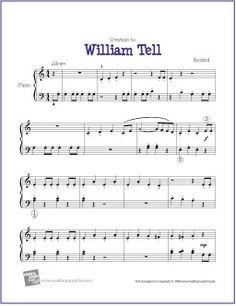 Overture to William Tell (Rossini) - Free Sheet Music for Easy Piano - makingmusicfun. Easy Piano Sheet Music, Song Sheet, Piano Music, Music Music, Violin Sheet, Music Sheets, Indie Music, Soul Music, Free Printable Sheet Music