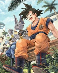 Dragon Ball Z Battle of Gods. I love it how they're all chilling out and Goku looks a so cute Manga Anime, Art Manga, Anime Art, Goku Manga, Dragon Ball Gt, Goten E Trunks, Manga Dragon, D Mark, Estilo Anime