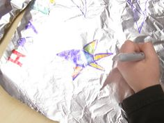 """""""Draw Me a Star"""" craft...drawing on tin foil"""
