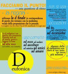 «Nel dubbio, non metterla!» La D eufonica | 3° puntata [Impara a scrivere in italiano: adottiamo la grammatica italiana] http://www.scripta-volant.org/blog/d-eufonica/ #grammatica #infografiche