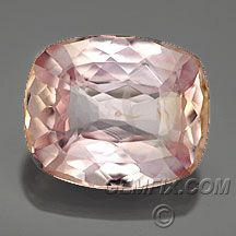 """BEAUTIFUL """"Padparadscha"""" Sapphire Cushion Mixed Cut  Weight: 4.08 cts Measurements: 10.5x8.7mm, depth 4.5mm Clarity: VVS-VS Origin: Sri Lanka Enhancements: None Price: $ 8160.00 Order/Stock No.: sapphire_pink_452 Description: AGL certified Natural """"Padparadscha"""". The color is light pastel pink with peachy-orange accents. Certified untreated, from Sri Lanka. Nearly eye-clean, window may close in setting. Pantone Coated Color Card 196 & 148 AGL lab report included."""