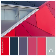 Color inspiration [ triangles ]   Scott Webb @scottwebb - thank you for sharing this colorful picture!  picture source @unsplash  color palette no 219   color names: Cadmium Red Yankee's Blue Independence Fuchsia Rose Desire Ash Grey  name source @coolors_co  Which color is your favorite in this palette? - Mine are Desire and Ash Grey   for hex codes hop on over to my website astellescolors.com