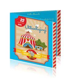 Een uitnodiging online maken voor een kinderfeestje, leuke circus kaarten.