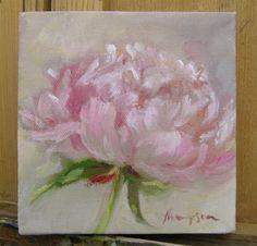 Flor de peonía rosa pequeña pintura al óleo por traciethompson