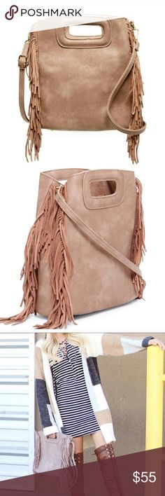 "🌺 NEW!! Taupe Fringe Convertible Handbag Adorable taupe fringe convertible handbag with dual top handles and adjustable detachable shoulder strap.   Additional details: Top zip closure Interior zip pocket and 2 slip pockets Approx. 10""H x 11""W x 4""D Approx. 23"" strap drop Detachable shoulder strap can be worn as crossbody PU exterior, fabric lining  Bundle 3 or more items and save 15%😊🎉🛍 Pink Haley Bags"