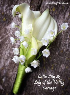 White, double calla lily and delicate lily of the valley pin-on style corsage, finished with spring green satin ribbon. Designed by Something Floral / Something Spectacular for a spring wedding in Grosse Pointe, Michigan. Photo: SomethingFloral.
