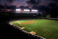 Wrigley Field at Sunset, home of the Chicago Cubs