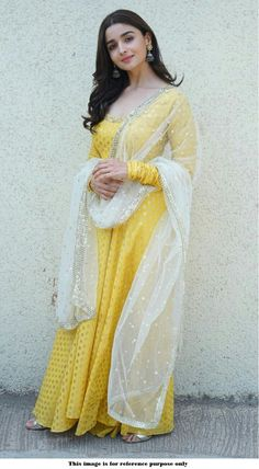 Buy Bollywood Alia Bhatt Yellow Nylone gown in UK, USA and Canada Designer Anarkali, Designer Kurtis, Indian Designer Suits, Designer Dresses, Gown Designer, Indian Gowns, Indian Attire, Indian Ethnic Wear, Robe Anarkali