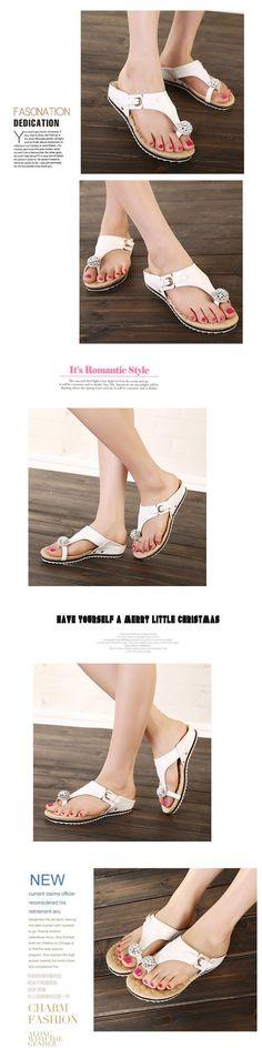Women's Sandals Summer woman shoes Beach Casual sandals Lady Slippers Women Sandals Flip Flops women Rhinestone shoes C204 | #BEACH #HIGHHEELSLIPPERS
