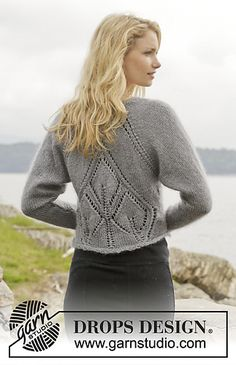 """Knitted DROPS bolero with lace pattern and raglan """"BabyAlpaca Silk"""", """"Kid-Silk"""" and """"Glitter"""". Size: S - XXXL. Knitting Patterns Free, Knit Patterns, Free Knitting, Baby Knitting, Free Pattern, Drops Design, Dressy Sweaters, Sweaters For Women, Cardigans"""