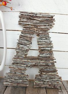 TWIG COVERED GIANT LETTER Supplies: Twigs (lots of them) Big letter from he craft store Hot glue If this looks to simple to actually write a tutorial for, then you have judged this craft correctly. I guess it is worth mentioning that after you collect your twigs, cut them all down to size with a …
