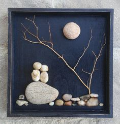 "Pebble Art Couple in the outdoors under a leaning tree and moon/sun set in an ""open"" black wood shadow box 10x10 (FREE SHIPPING)"