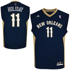 Mens New Orleans Pelicans Jrue Holiday adidas Navy Blue Replica Road Jersey cb7271e74
