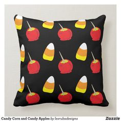 Candy Corn and Candy Apples Throw Pillow Halloween Pillows, Halloween Gifts, Halloween Decorations, Candy Apples, Candy Corn, Custom Pillows, Decorative Throw Pillows, Fall Bedroom Decor, Create Your Own