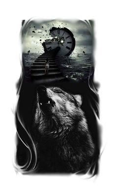 Tattoo Wolf, tatuagem de lobo, tattoo clock