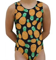 Gymnastics Leotard Girls Pineapples Print Leotard. Available in Sizes Child S - Adult Large
